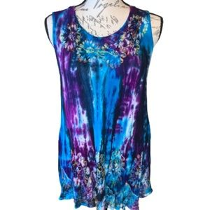 3/$30 India Boutique tie dye embroidered tank top
